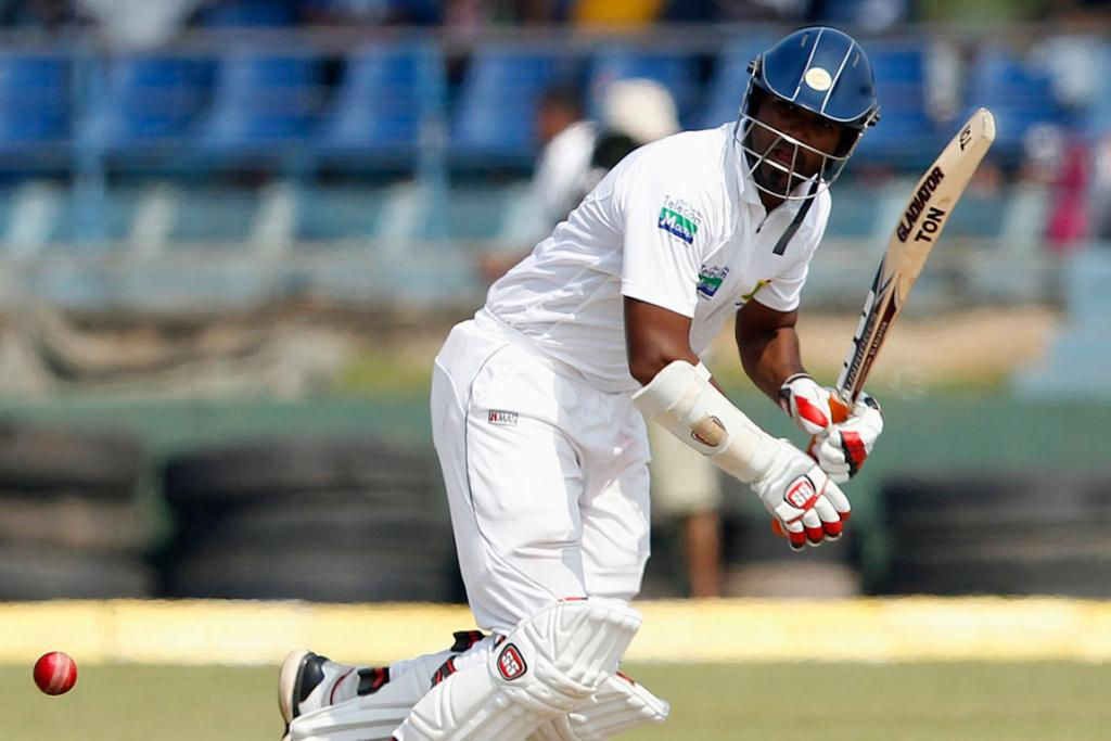 Sri Lanka's Tharanga Paranavitana plays a shot during the third day of first test cricket match against New Zealand.