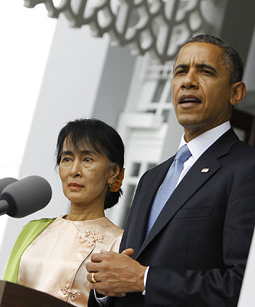 PRAISE AND PRESSURE: US President Barack Obama talks to reporters during a news conference after meeting Myanmar's opposition leader Aung San Suu Kyi.