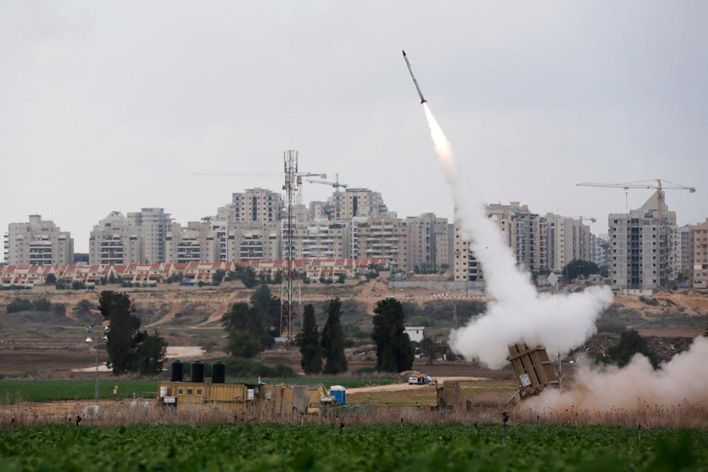 An Iron Dome launcher fires an interceptor rocket near the Israeli city of Ashkelon.