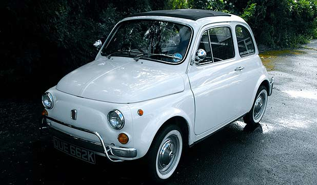 The Fiat 500 previously owned by British Prime Minister David Cameron.