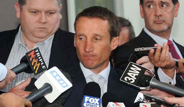 Jockey Damien Oliver addresses media after being banned from racing for 10 months.