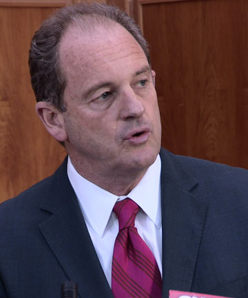 IN CHARGE: David Shearer speaks with confidence after the Labour caucus votes in support of him unanimously.