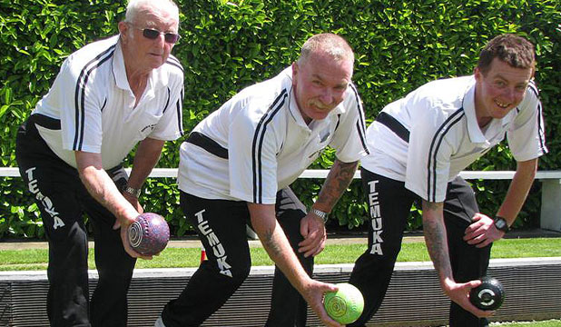 FAMILY AFFAIR: The Temuka Bowling Club had its first team that included three generations of one family when John, Steve and Adam Burgess played triples together.