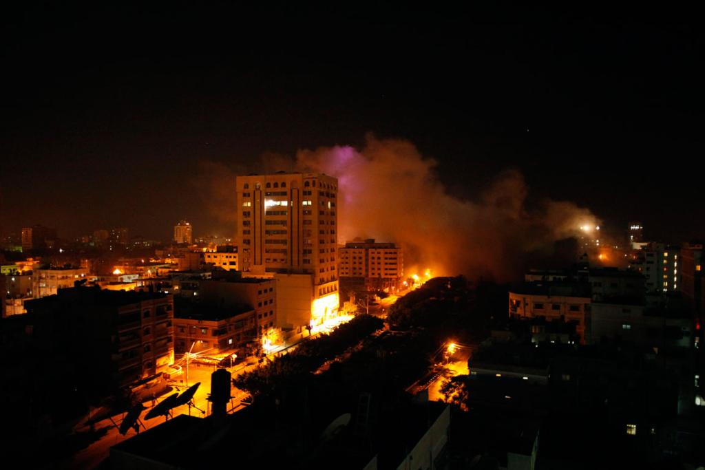 Smoke rises after what witnesses was said an Israeli air strike in Gaza City.
