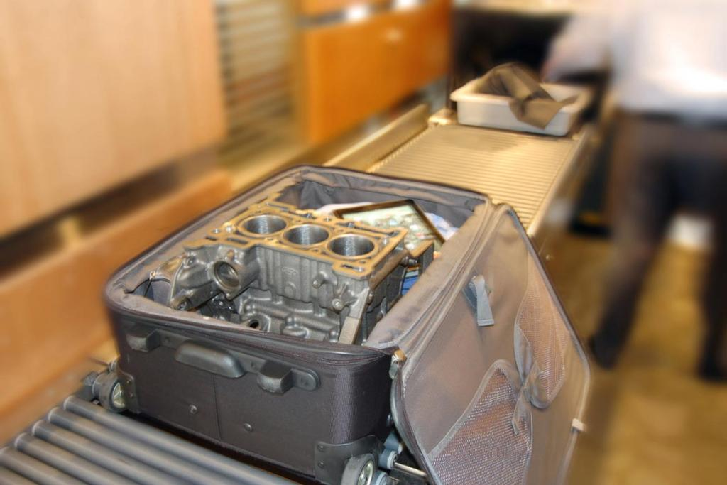 Ford's new 3-cylinder 1.0-litre EcoBoost engine, is so small it can fit in carry-on luggage.
