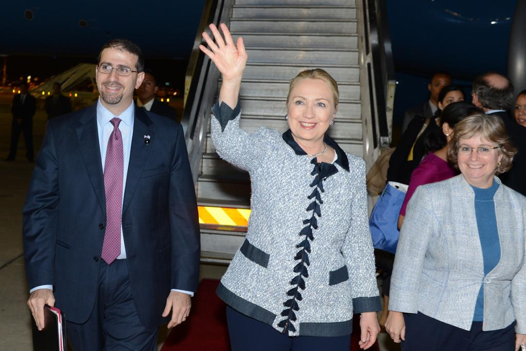 US Secretary of State Hillary Clinton arrives in Tel Aviv, Israel, for talks about the Gaza situation.