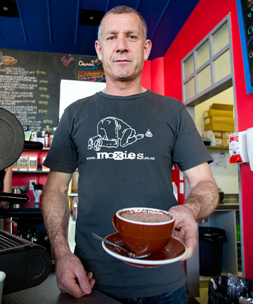 CAMERON FAN: Palmerston North barista Mike Waghorn is in Melbourne for the Shane Cameron–Danny Green fight tonight.