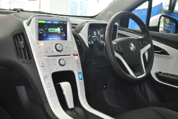 Charged to go: The dashboard of the new Holden Volt electric vehicle.
