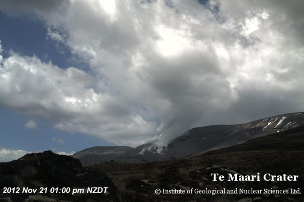 Mt Tongariro, as seen from a webcam at 1pm - about 20 minutes before the eruption.