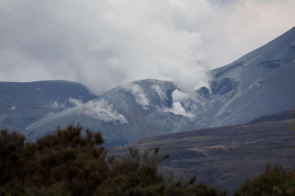 Steam rises from Mt Tongariro following the eruption.