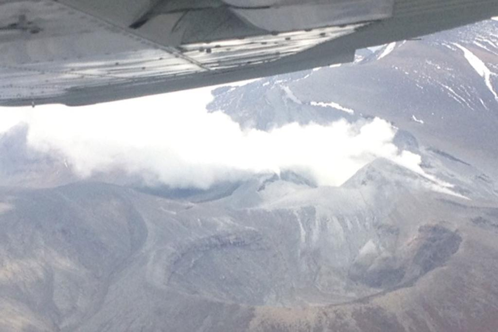 FLY OVER: View of Tongariro, from the air, following the eruption.