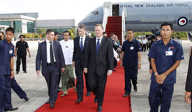 HISTORIC FIRST: Prime Minister John Key arrives in Yangon, Myanmar.