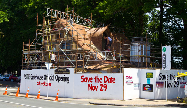 ALL FRONT: The i-Site building is a hive of activity as it gets its Hobbit makeover.
