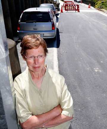 NO ROOM: Queens Rd resident Gretchen Rasch isn't happy about the loss of car parks outside her home.