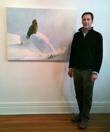 FOCUS ON BIRDS: Blenheim artist Nicolas Dillon with one of his works, which is on display at the McAtamney Gallery in Geraldine.