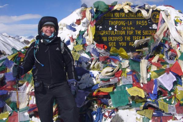 Thorong La Pass in Nepal.HIGH POINT: Kerryn Stewart a top the Thorong La Pass in Nepal.