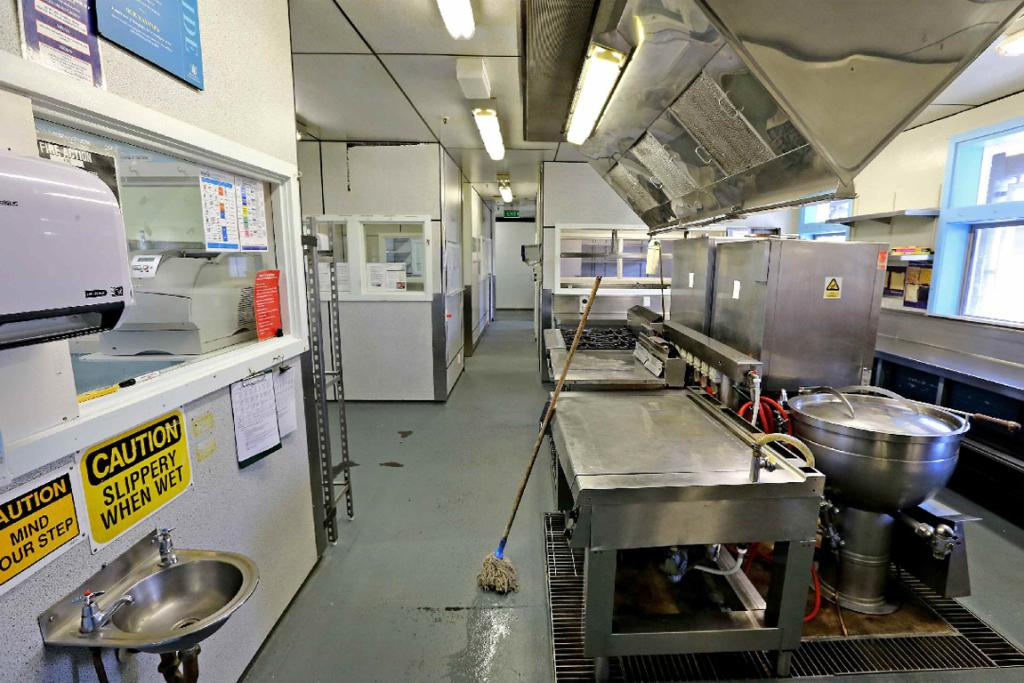 The prison kitchen.