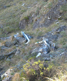 WRECKAGE: The remains of a Hughes 500 helicopter which was found yesterday.