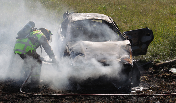 FATAL CRASH: Fire crews rushed to the scene of a fiery car crash near Hamilton.