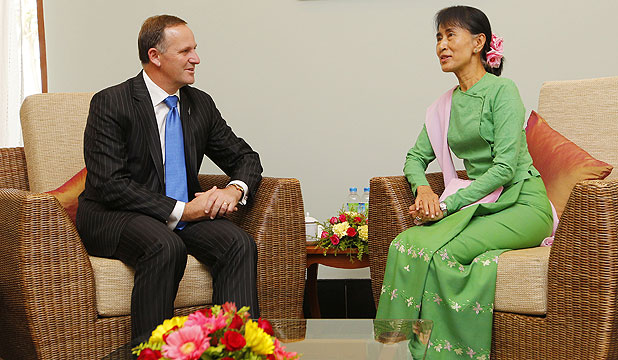 FIRST MEETING: Prime Minister John Key meets with Myanmar opposition leader Aung San Suu Kyi.