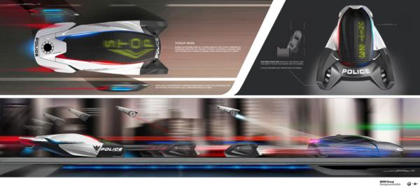 The BMW Group DesignworksUSA E-Patrol (Human-Drone Pursuit Vehicle) for the LA Design Challenge.