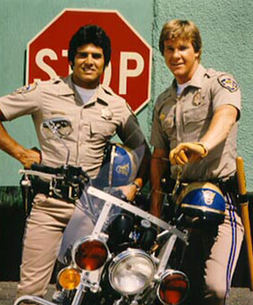 Erik Estrada (left) and Larry Wilcox as Californian Highway Patrol officers Frank
