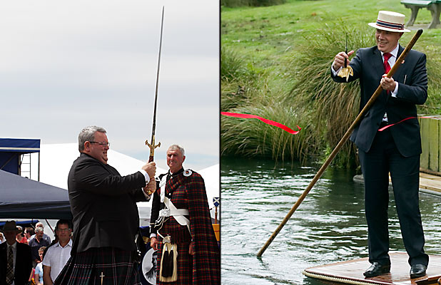 TRUCE NEEDED? Gerry Brownlee appears ready for action while mayor Bob Parker appears adrift.