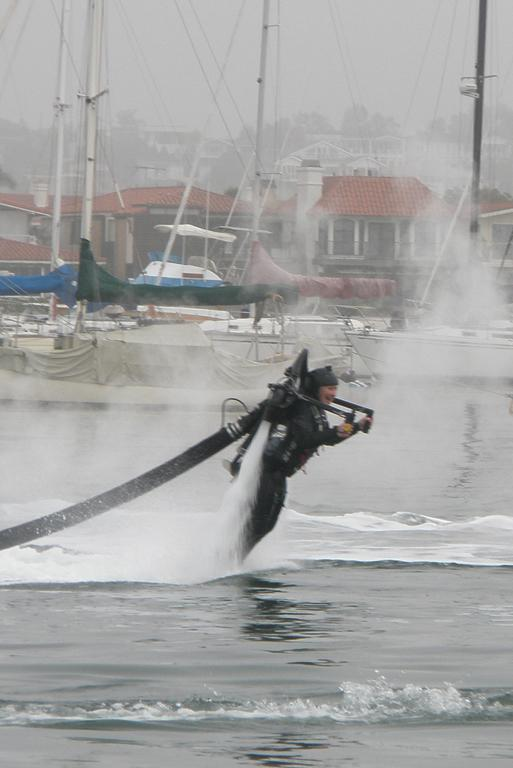 WATER WINGS: Timaru Herald reporter Rhonda Markby tests a jet pack on a recent trip to Los Angeles.