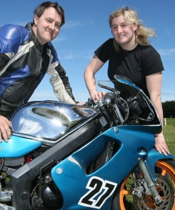 FAMILY LINEUP: Steve Winteringham and daughter, Francie, who became interested in competitive motorcycling after watching the first Burt Munro Challenge in 2006.