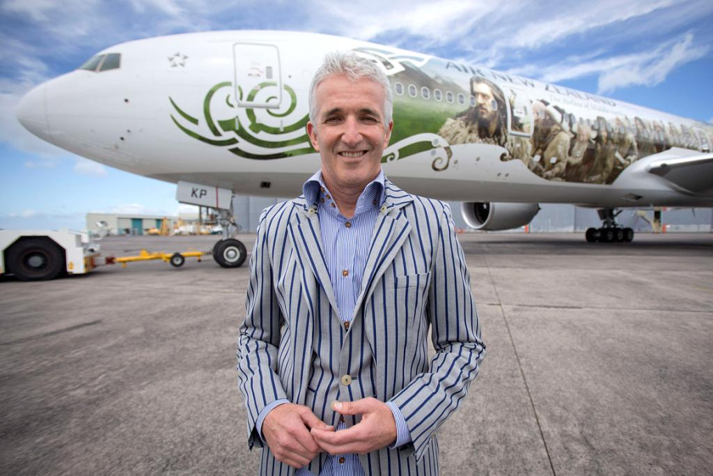 Rob Fyfe with his airline's Hobbit plane.