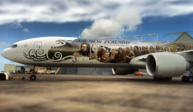 Air New Zealand has decked out a Boeing 777-300 in Hobbit livery ahead of the Wellington premiere of the first Hobbit movie.