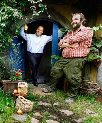 FILM FRIENDS: John Key on The Hobbit set with Sir Peter Jackson.