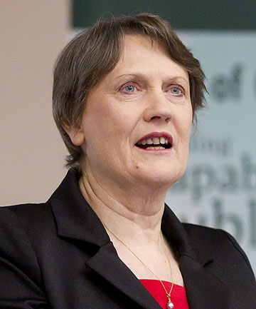 CLIMATE CHANGE 'HARD FOUGHT ISSUE': Former prime minister Helen Clark speaks at Victoria University in Wellington.