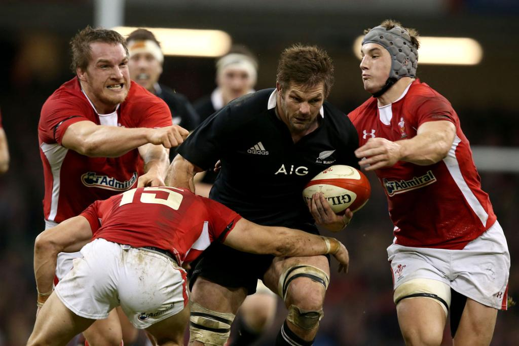 Man of the match Richie McCaw powers through the Welsh defence.