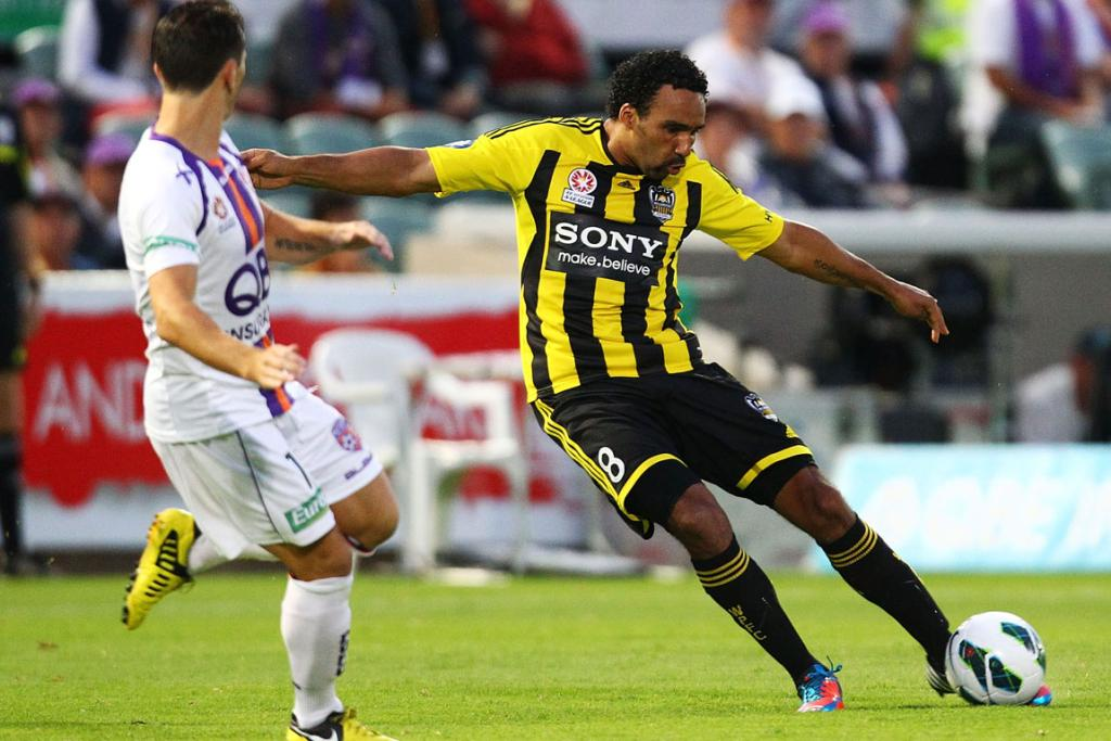 Paul Ifill of Wellington in action against the Perth Glory.