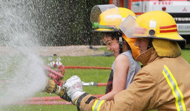 Brayden Te Amo, 10, of Invercargill, and Pukerau senior firefighter Bernie Lieshout