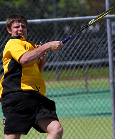 Taranaki No 1 Jordan Fleming returns a shot during his match at the weekend.