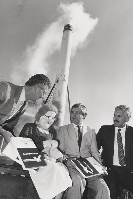 SMOKESTACK: This anti-smoking photo remains a mystery. Can you name these gentlemen or their friend?