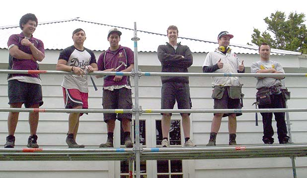 STUDENT HELP: Tikipunga High School building academy students at the Pehiaweri Marae's manse restoration project, from left: Tommy McGregor, Leslie Howe, Nikau Teau, Sam McGregor (teacher), Lethaniel Edwards and Breeze Stringfellow.