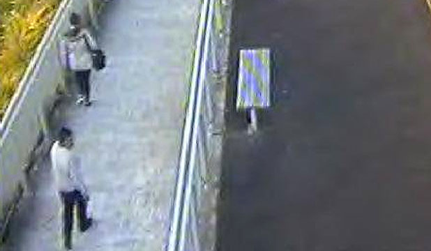 WANTED: Security footage shows the attacker following his victim at Sunnyvale train station.