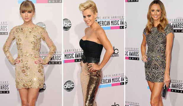 GOLD STARS: From left - Taylor Swift, Jenny McCarthy and Stacey Kiebler dazzle at the American Music Awards.