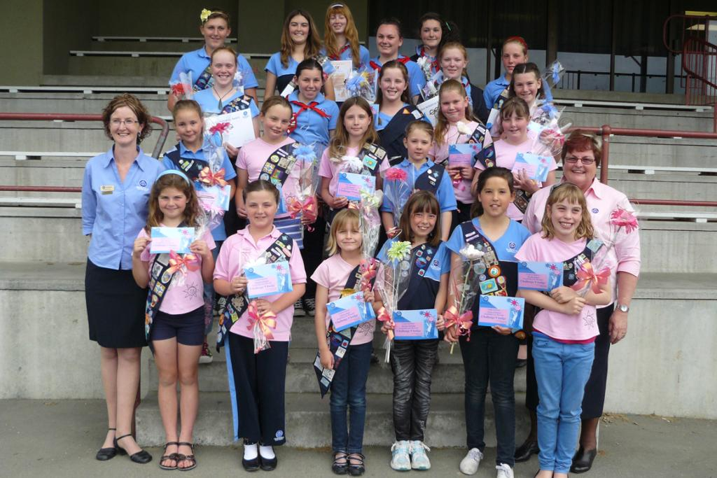 STILL GOING STRONG: Girl guiding South Canterbury continues to attract many members. Awards were made at the weekend to the following members: (front, left) Ella Benson, Natalia Johnson, Jessica Rose, Brooke Halliday, Jorja Johnston and Tia McCallum; row 2, Annette Bray (regional co-ordinator), Kinsley Hawkins, Alex Butler-Baird, Lily Goodwin, Natasha Pannett and Sonia Faulkner (National President, GirlGuiding NZ); row 3, Boudine Brown, Emma Webb, Sian Boase, Emillia Tate and Jessica Hydes; row 4, Vicky Taggart, Alexandra Wilson, Hannah Wightman, Maddy Walker-Ibadulla, Jessica Cowie, Mel Haworth and Toni Butler-Baird. Absent: Savannah Quigley, Anna Wilson and Eilish Pierce.