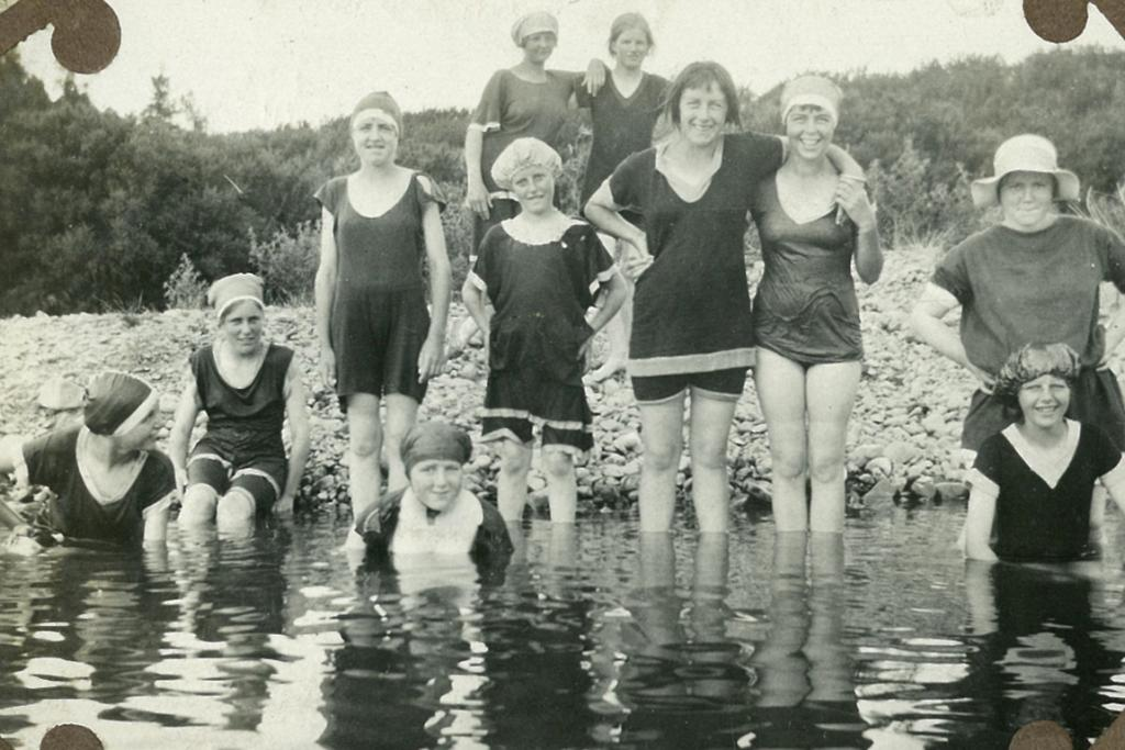 TAKING A DIP: Early girl guides and brownies of Timaru, believed to be in the 1920s.