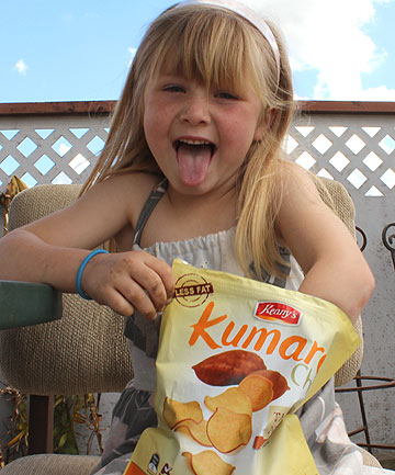 CHINESE KUMARA: They might taste all right but when Chloe Glover's mother bought her Kenny's Kumara Chips she thought they were a New Zealand product.