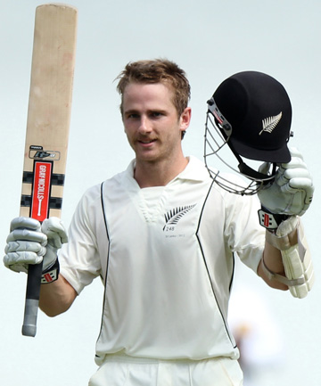 RETURN TO FORM: Kane Williamson celebrates after reaching his hundred on the second day of the second test against Sri Lanka in Colombo.