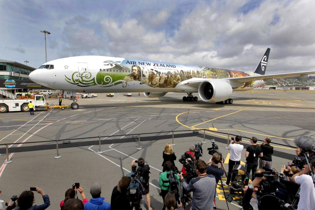 The Hobbit plane arrives at Wellington Airport from Auckland.
