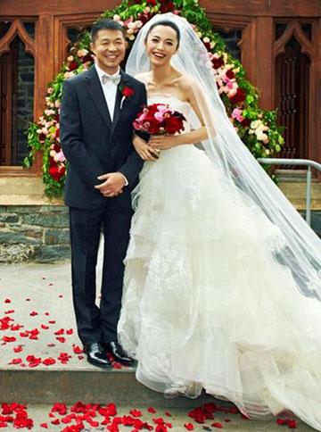 WIDELY FOLLOWED: Chinese actress Yao Chen and husband Cao Yu when they married in Queenstown.