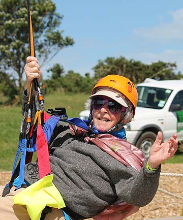 SURPRISE PRESENT: Kara Nelson celebrated her 93rd birthday by trying out the flying fox at EcoZip.