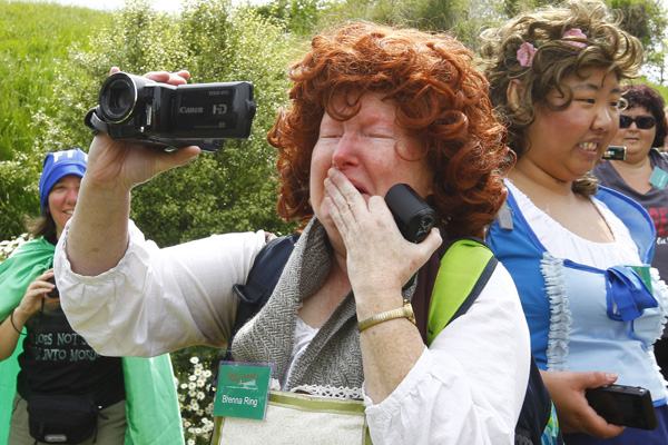 Seeing the hobbit holes up close was too much for San Diego tourist Kathy Ring.