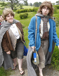 Australians Elise Lockhart and Victoria Gridley dressed up as Lord of the Rings characters Sam and Pippin.